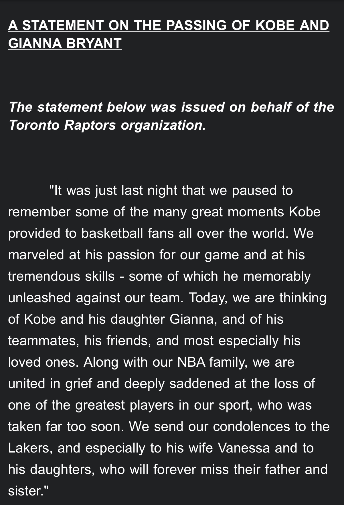 The Toronto Raptors released an official statement on the passing of Kobe Bryant.