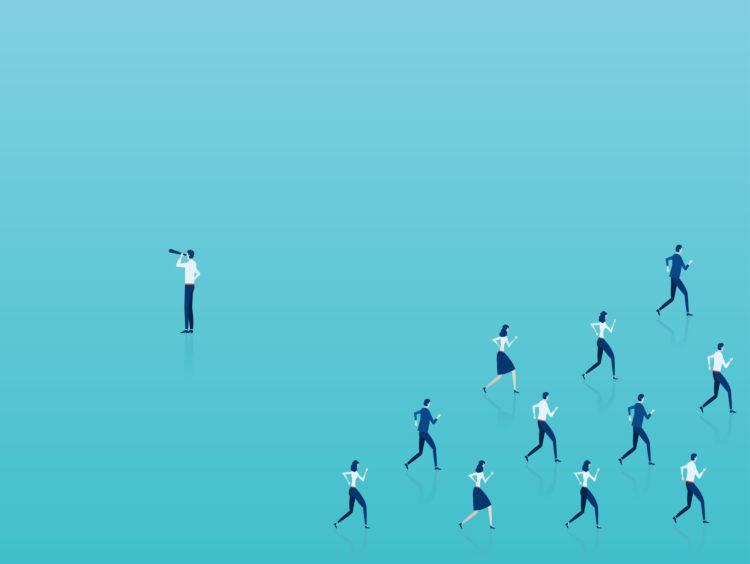 Vector of an outsider businessman looking in opposite to crowd direction