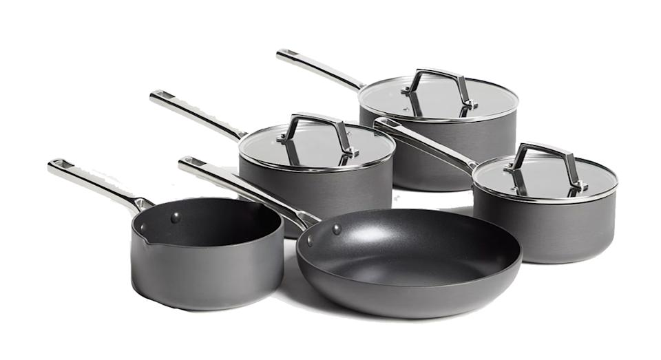 Hard Anodised Aluminium Non-Stick Saucepan/Frying Pan Set, 5 Pieces