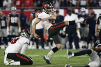 Tampa Bay Buccaneers' Ryan Succop kicks what proved to be the game-winning field goal against the Dallas Cowboys during the second half of an NFL football game Thursday, Sept. 9, 2021, in Tampa, Fla. (AP Photo/Mark LoMoglio)