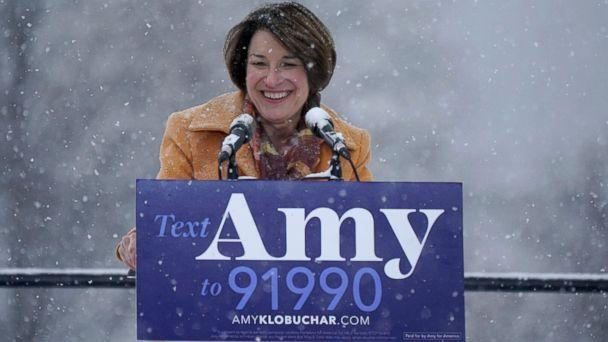 PHOTO: Sen. Amy Klobuchar greets the crowd before announcing her bid for president at Boom Island Park in Minneapolis, Feb. 10, 2019. (Anthony Souffle/Star Tribune via AP)