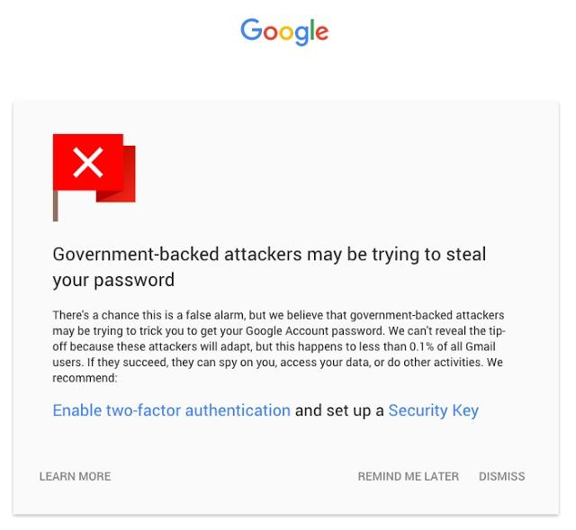 Google email warning.