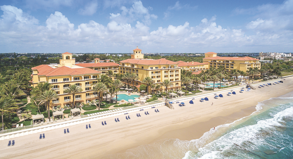 "<p><a href=""https://www.eaupalmbeach.com/"" rel=""nofollow noopener"" target=""_blank"" data-ylk=""slk:Eau Palm Beach"" class=""link rapid-noclick-resp"">Eau Palm Beach</a> is one of eight Florida hotels name as a Forbes Five-Star Resort, and it offers a modern take on Old Florida glamour. This resort spares no detail, from welcoming each guest (of age) with a glass of Champagne to its breathtaking interiors by <a href=""https://jonathanadler.com/"" rel=""nofollow noopener"" target=""_blank"" data-ylk=""slk:Jonathan Adler"" class=""link rapid-noclick-resp"">Jonathan Adler</a>. A five-star spa, <a href=""http://www.villency.com/"" rel=""nofollow noopener"" target=""_blank"" data-ylk=""slk:Eric Villency"" class=""link rapid-noclick-resp"">Eric Villency</a>–designed Club Lounge for social networking, and inventive takes on Florida cuisine are just three of the million reasons to make this place your next getaway. </p>"