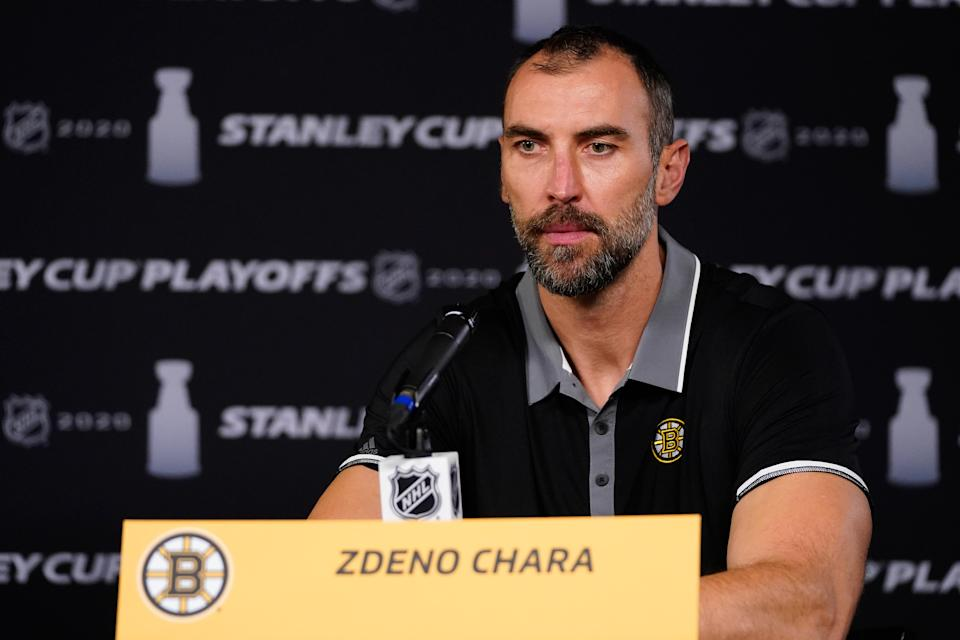 TORONTO, ONTARIO - AUGUST 27:  Zdeno Chara #33 of the Boston Bruins speaks to the media after the NHL and NHLPAs announcement to reschedule games during the Eastern Conference Second Round of the 2020 NHL Stanley Cup Playoffs on August 27, 2020 in Toronto, Ontario. Several sporting leagues across North America are postponing their schedules as players protest the shooting of Jacob Blake by Kenosha, Wisconsin police. (Photo by Mark Blinch/NHLI via Getty Images)
