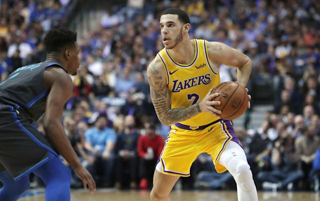 "<a class=""link rapid-noclick-resp"" href=""/nba/players/5764/"" data-ylk=""slk:Lonzo Ball"">Lonzo Ball</a> has a new agent. Whether he'll soon be wearing new shoes remains unclear. (AP)"