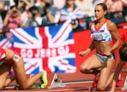 LONDON, ENGLAND - AUGUST 03: Jessica Ennis of Great Britain competes in the Women's Heptathlon 100m Hurdles Heat 1 on Day 7 of the London 2012 Olympic Games at Olympic Stadium on August 3, 2012 in London, England. (Photo by Alexander Hassenstein/Getty Images)