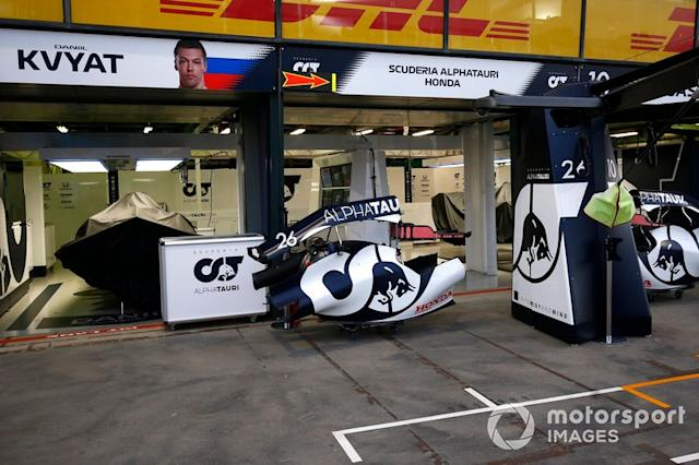"The AlphaTauri garage <span class=""copyright"">Andy Hone / Motorsport Images</span>"