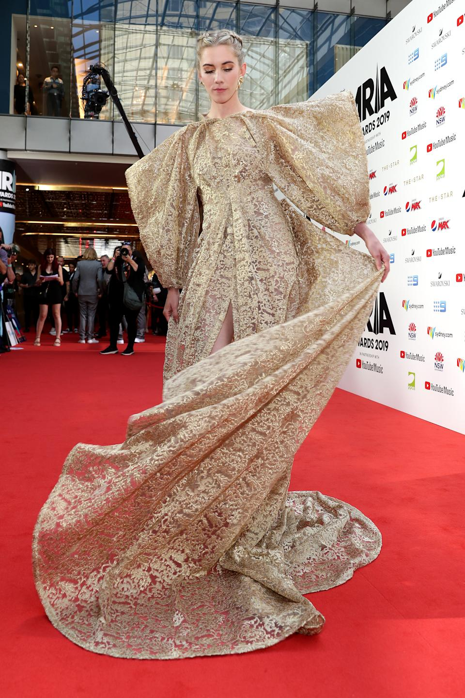 Artists Woodes, arrives for the 33rd Annual ARIA Awards 2019 at The Star. Photo: Getty Images