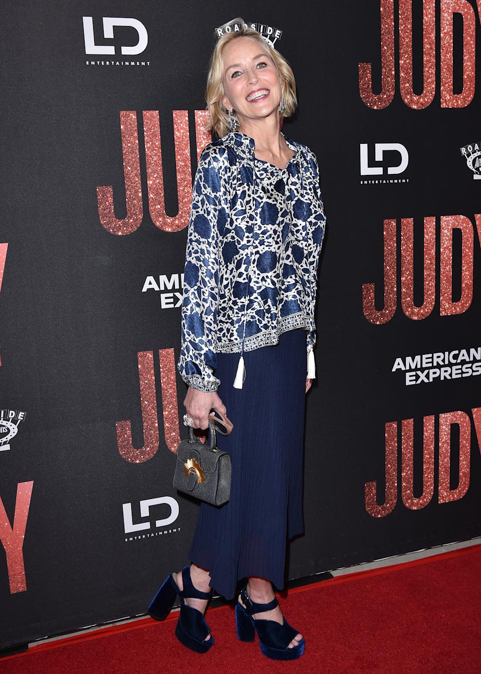 """BEVERLY HILLS, CALIFORNIA - SEPTEMBER 19: Sharon Stone attends the LA Premiere of Roadside Attraction's """"Judy"""" at Samuel Goldwyn Theater on September 19, 2019 in Beverly Hills, California. (Photo by Axelle/Bauer-Griffin/FilmMagic)"""