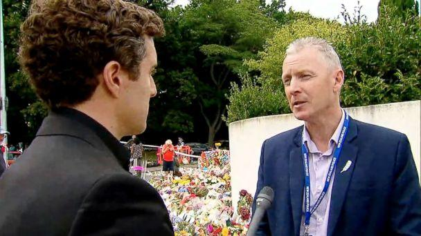 PHOTO: ABC News' Will Carr speaks to Chris Cahill, president of New Zealand Police Association in Christchurch, New Zealand, in this image made from video. (ABC News)