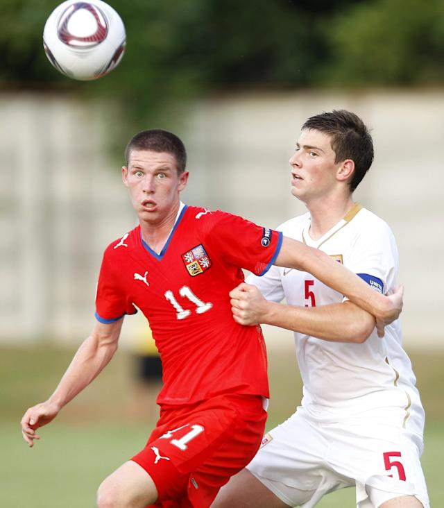 Czech's Patrik Lacha (L) vies with Serbia's Uros Cosic (R) during their final football match of the UEFA European Under-19 Championship 2010/2011 in Mogosoaia village, next to Bucharest, on July 29, 2011. AFP PHOTO / STRINGER (Photo credit should read STRINGER/AFP/Getty Images)