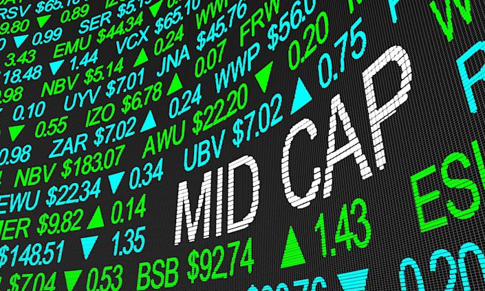 blue and green stock tickers with the words MID CAP written among them