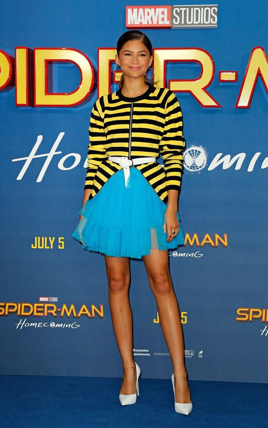 <p>Zendaya wore Molly Goddard to attend the 'Spider-Man: Homecoming' London photocall.</p>