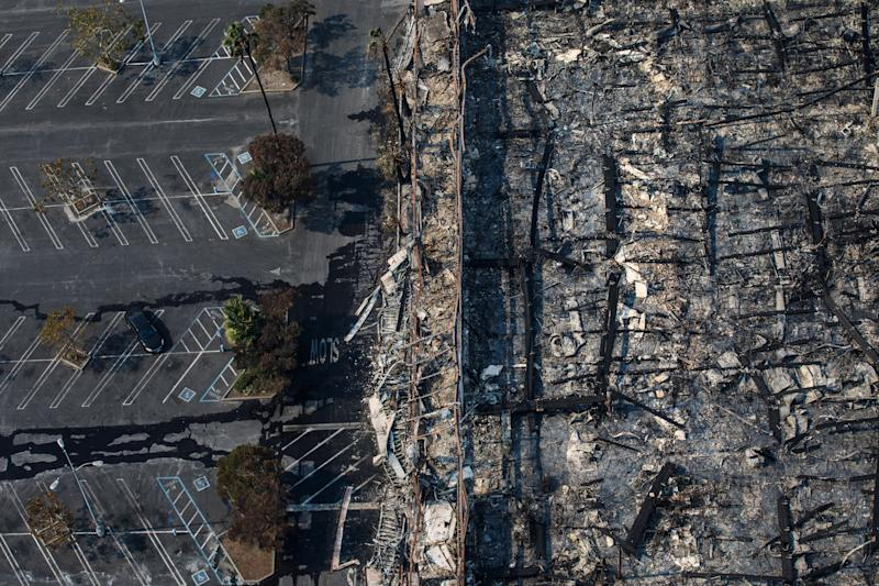 Aerial views of the Kmart store destroyed by fire along the 101 freeway in Santa Rosa.