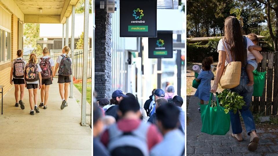 Pictured: Australian public school students, JobSeekers waiting outside Centrelink, Australian woman with children. Images: Getty