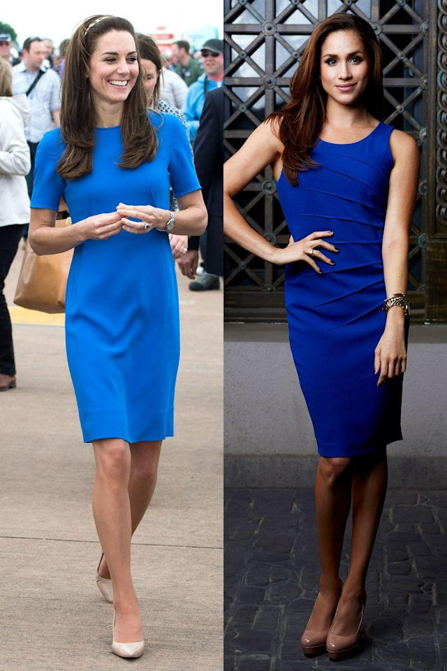 <p>A neutral pair of heels goes with absolutely everything, which Meghan and Kate prove here by wearing them with two different shades of blue dresses. (And is that a Burberry headband I see, Kate?!)</p>