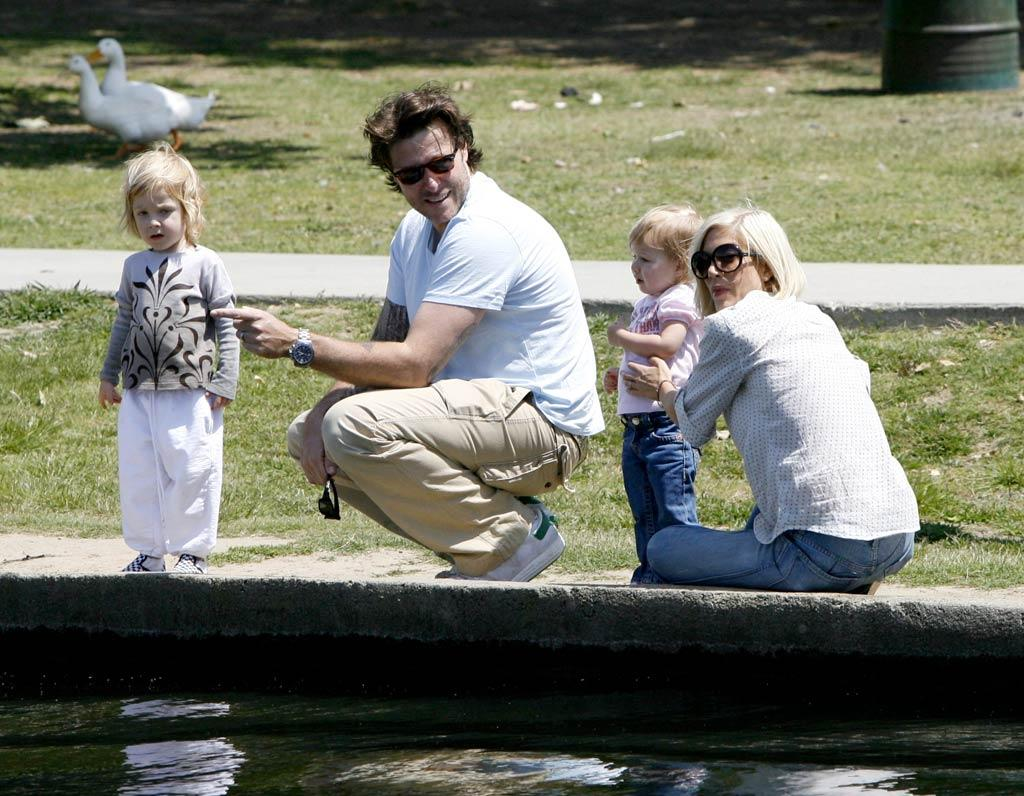 """Tori Spelling and Dean McDermott made sure that their little ones, Liam and Stella, didn't get too close to the water while visiting Lake Balboa in Los Angeles. IONU/<a href=""""http://www.x17online.com"""" target=""""new"""">X17 Online</a> - May 10, 2010"""
