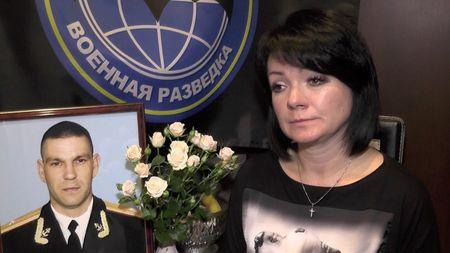A still image taken from a video footage shows Vitalina Bordova, widow of Russian marine commander Sergei Bordov killed in Syria, during an interview in Sevastopol