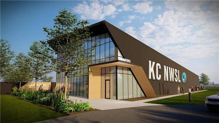 A rendering of what KC NWSL's new $15 million training facility in Riverside, Mo., will look like upon completion next year.
