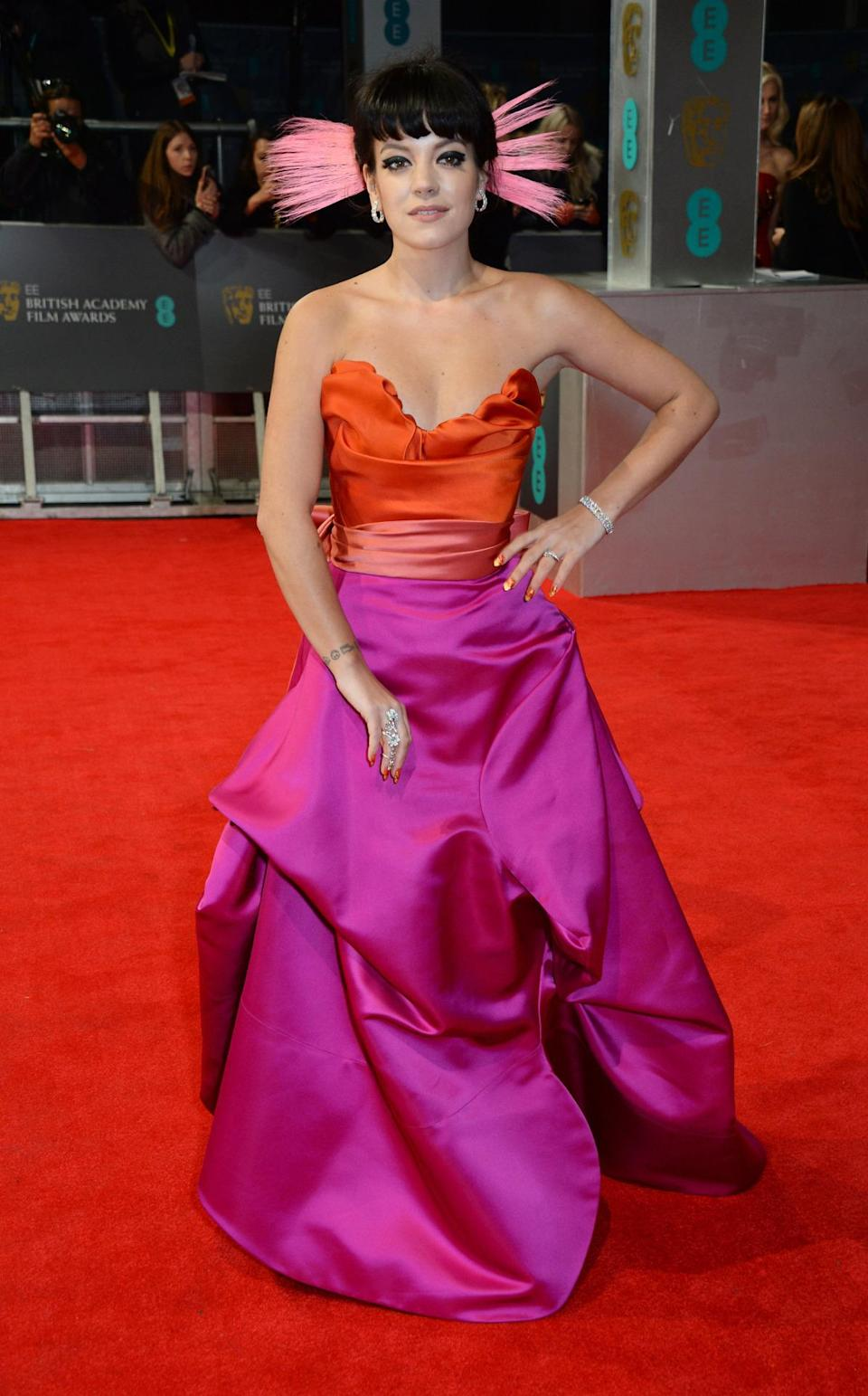 Both Lily Allen and Vivienne Westwood aren't afraid of taking chances, so the pairing worked out perfectly when the singer attended the British Academy Film Awards in 2014.