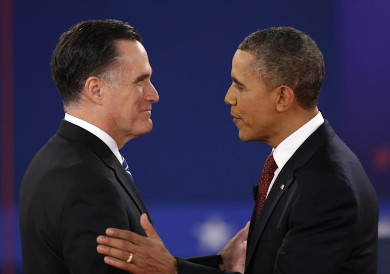 President Barack Obama greets Republican presidential nominee Mitt Romney at the start of the second presidential debate at Hofstra University, Tuesday, Oct. 16, 2012, in Hempstead, N.Y. (AP Photo/David Goldman)