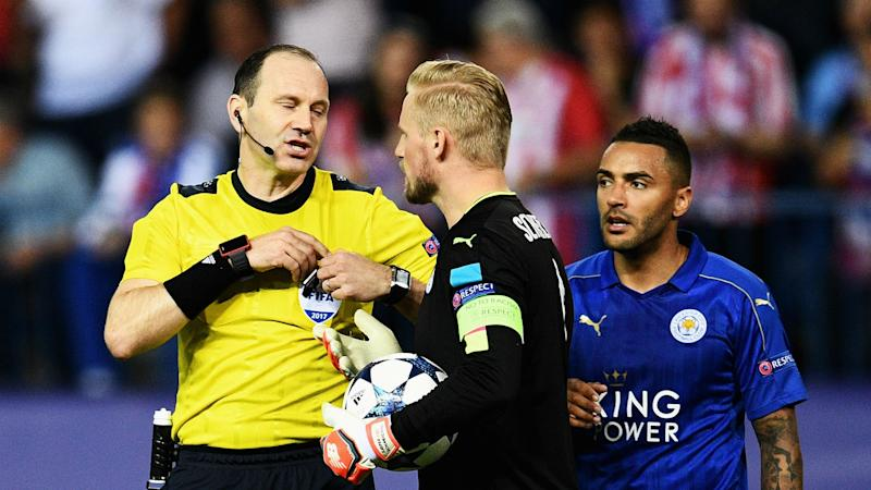 Schmeichel smoulders after Leicester hit by Atletico penalty