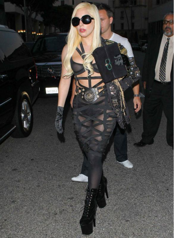 Lady GaGa Unleashes Her Inner Dominatrix In Bondage Jumpsuit For Evening Meal