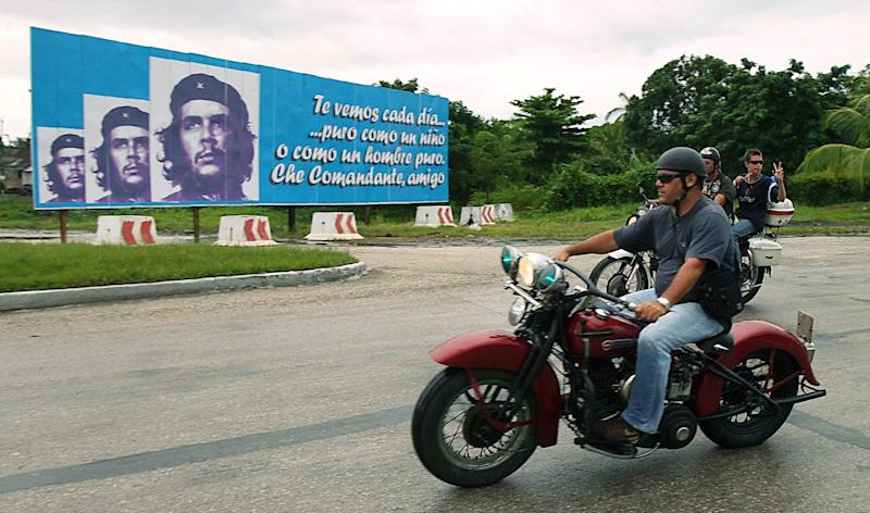 Ernesto Guevara, the youngest son of revolutionary leader Che Guevara, joins a group of motorcycle fanatics in a ride to the mausoleum of his father in the eastern town of Santa Clara, on October 8, 2007