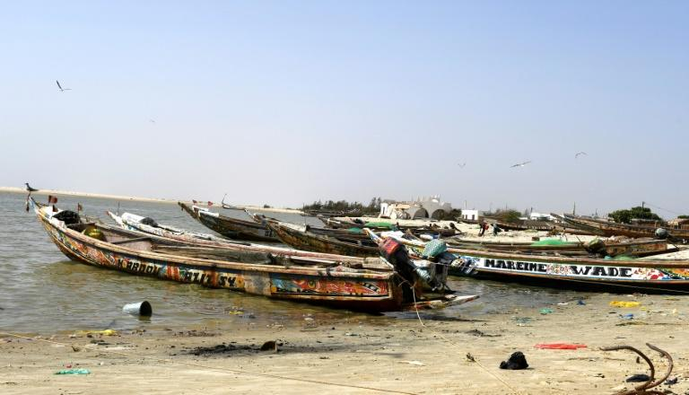 Fishing boats at Ndiebene-Gandiol near the northern Senegal city of Saint-Louis