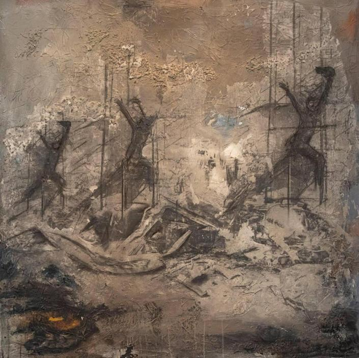 """Luma Jasim's 2021 mixed media on canvas piece titled """"Catastrophe"""" is on display at Boise State's Student Union Building Fine Arts Gallery. Jasim is a Boise resident who was born in Iraq and lived there for 30 years."""