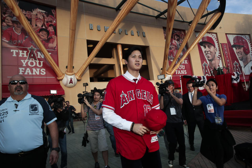 Welcome to the bigs, Shohei Ohtani. (AP Photo/Jae C. Hong)