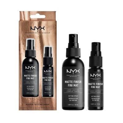 <p>Why have one setting spray when you can have two? Grab a <span>NYX Professional Makeup Holiday Matte Setting Spray Gift Set</span> ($10) to keep your makeup in place throughout even the wildest of holiday get-togethers.</p>