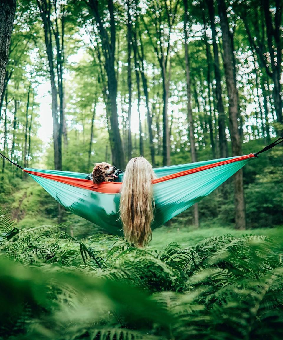 """<h2>Best Eco-Friendly Hammock</h2> <br><h3>Nakie Recycled Hammock With Straps</h3><br><strong>The Hype:</strong> 4.9 out of 5 stars and 889 ratings<br><br><strong>Reviewers say</strong>: """"So easy and quick to set up. The quality of the hammock and strap is exceptional. I only buy from ethical traders and so love that it's made from recycled bottles and that 4 trees were planted. Really comfortable and strong enough for at least 2 adults!""""<br><br><em>Shop</em> <strong><em><a href=""""https://www.nakie.us/collections/hammock"""" rel=""""nofollow noopener"""" target=""""_blank"""" data-ylk=""""slk:Nakie"""" class=""""link rapid-noclick-resp"""">Nakie</a></em></strong><br><br><strong>Nakie</strong> Sky Blue - Recycled Hammock with Straps, $, available at <a href=""""https://go.skimresources.com/?id=30283X879131&url=https%3A%2F%2Fwww.nakie.us%2Fcollections%2Fhammock%2Fproducts%2Fhammock-sky-blue"""" rel=""""nofollow noopener"""" target=""""_blank"""" data-ylk=""""slk:Nakie"""" class=""""link rapid-noclick-resp"""">Nakie</a>"""