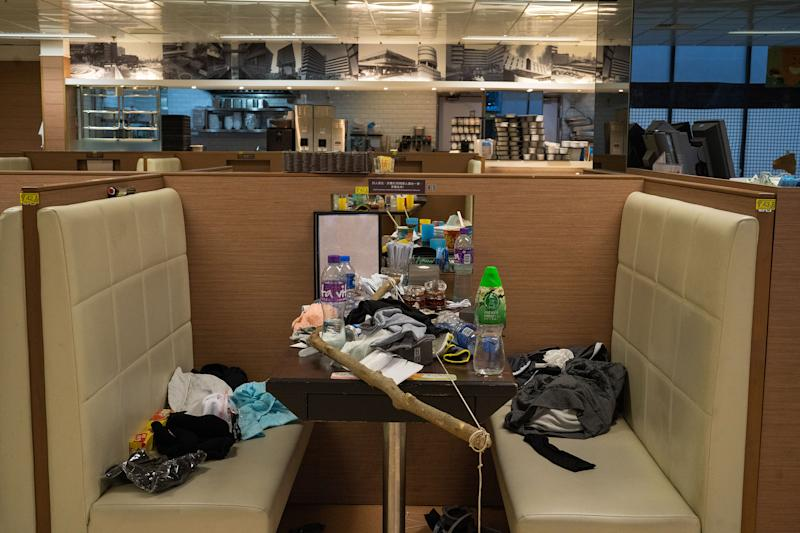 A canteen is seen inside PolyU after a three-day stand off between protesters and police, Nov. 19. | Bing Guan—EPA-EFE