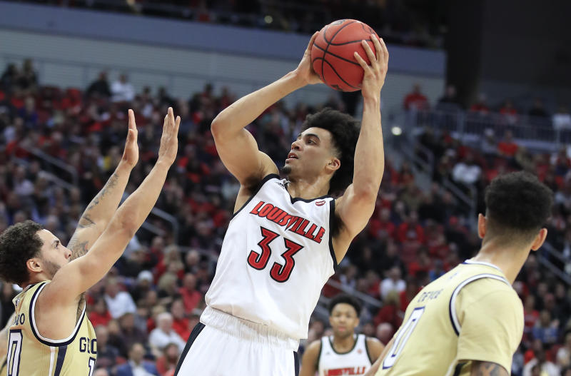 Jordan Nwora #33 of the Louisville Cardinals shoots the ball against Georgia Tech on Jan. 22, 2020. (Andy Lyons/Getty Images)