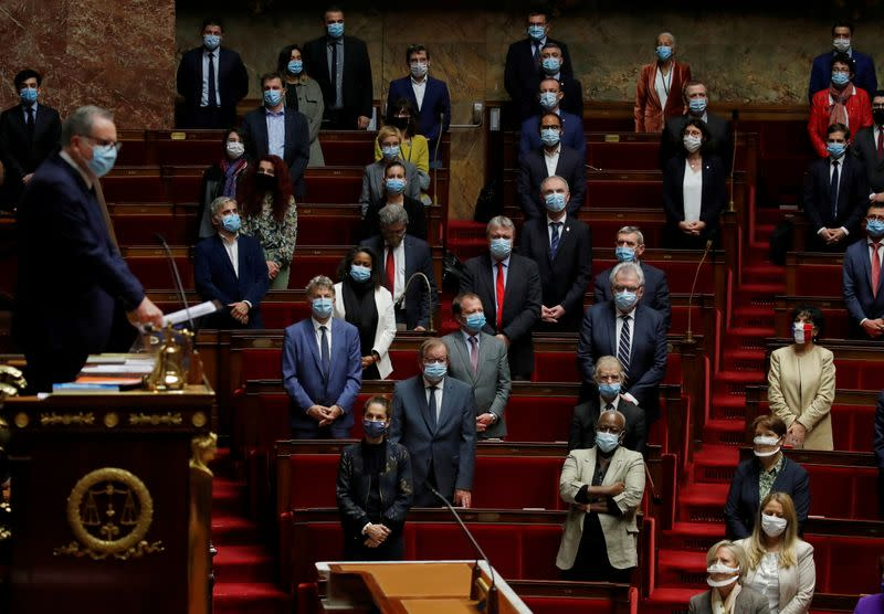 French MPs pay tribute to beheaded teacher Samuel Paty in Paris
