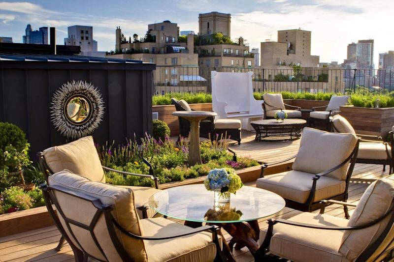 The private rooftop garden looking out on the New York skyline at The Surrey (The Surrey)