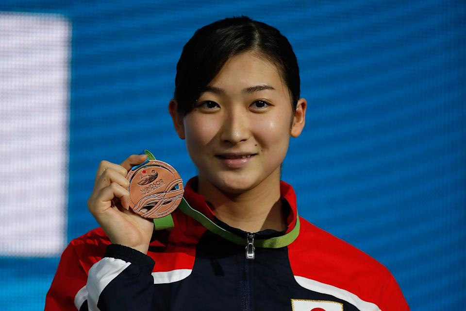 WINDSOR, CANADA - DECEMBER 11:  Ikee Rikako of Japan celebrates her bronze medal in the 100m Butterfly on day six of the 13th FINA World Swimming Championships (25m) at the WFCU Centre on December 11, 2016 in Windsor Ontario, Canada.  (Photo by Gregory Shamus/Getty Images)