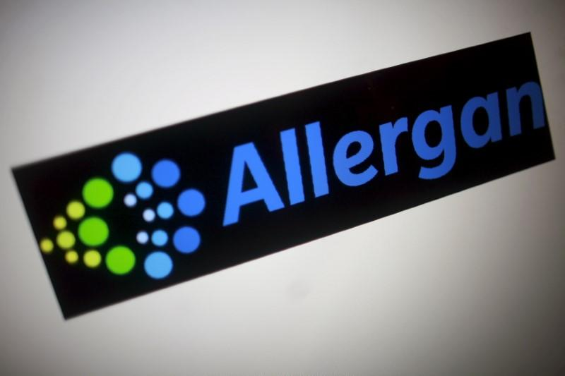 The Allergan logo is seen in this photo illustration in Singapore