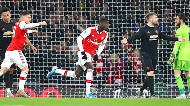 Arsenal won for the second time in 13 Premier League games after Nicolas Pepe and Sokratis scored against Manchester United.
