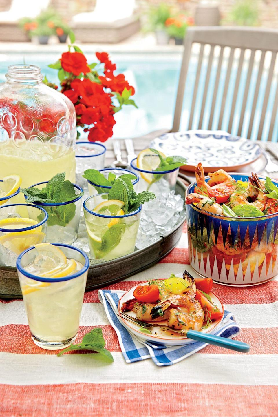"""<p><strong>Recipe: <a href=""""https://www.southernliving.com/syndication/lemon-mint-sparklers"""" rel=""""nofollow noopener"""" target=""""_blank"""" data-ylk=""""slk:Lemon-Mint Sparklers"""" class=""""link rapid-noclick-resp"""">Lemon-Mint Sparklers</a></strong></p> <p>Lemon and mint are a match made in heaven—er, the produce section. This drink is simple and calls for no booze at all, if you prefer. However, vodka or a crisp white wine make awesome additions for a spritz. </p>"""