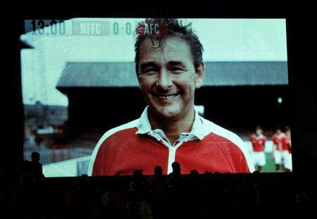FILE PHOTO: Britain Football Soccer - Nottingham Forest v Arsenal - EFL Cup Third Round - The City Ground - 20/9/16 Former Nottingham Forest manager Brian Clough is displayed on the big screen during the game Action Images via Reuters / Tony O'Brien/File Photo/Livepic