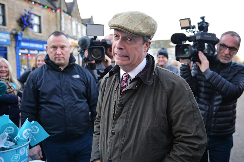 Brexit Party leader Nigel Farage during a visit to Bolsover, Chesterfield, whilst on the General Election campaign trail.