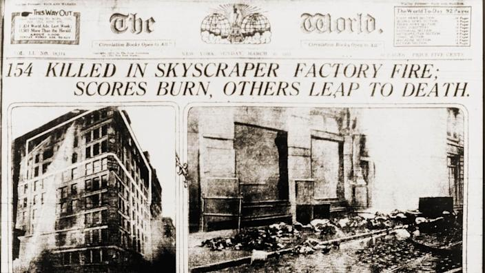 Triangle Shirtwaist Company fire reported on the front page of The New York World newspaper for March 26, 1911.
