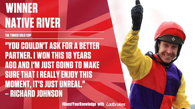 Champion Jockey Richard Johnson wins his first Gold Cup since piloting Looks Like Trouble to glory in 2000.
