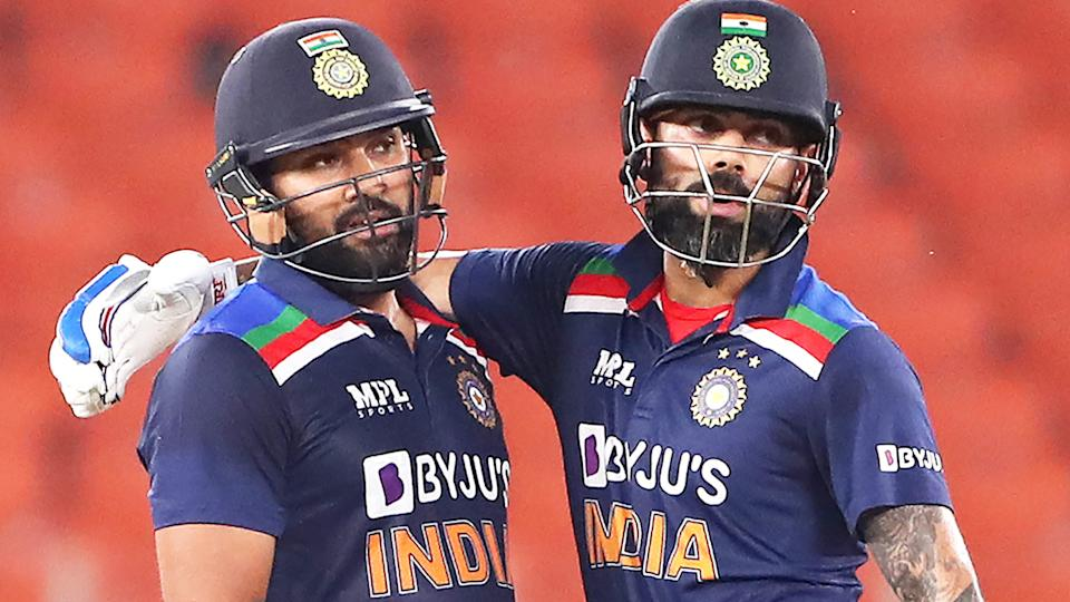 Rohit Sharma and Virat Kohli, pictured here in action for India.