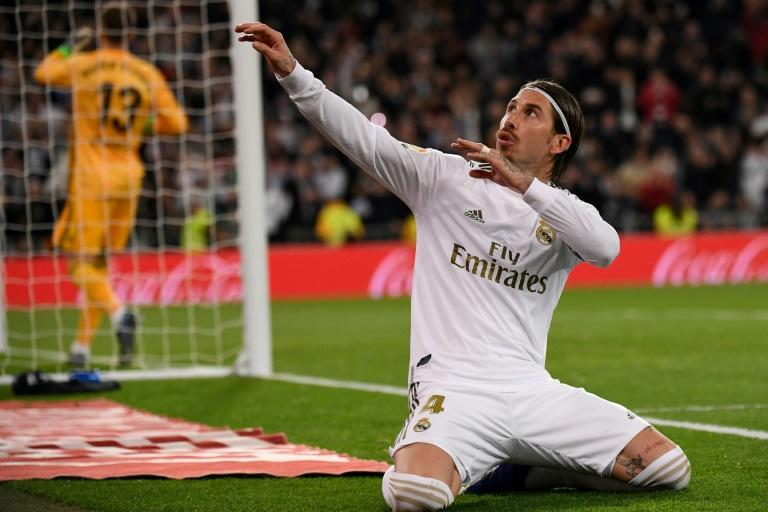 Sergio Ramos celebrated after putting Real ahead from the penalty spot