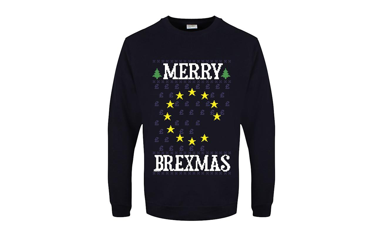 """<p><a rel=""""nofollow"""" href=""""https://www.grindstore.com/products/merry-brexmas-mens-navy-blue-christmas-jumper-602837.html""""><i>Grindstore, £19.99</i></a><br /><br /></p>"""