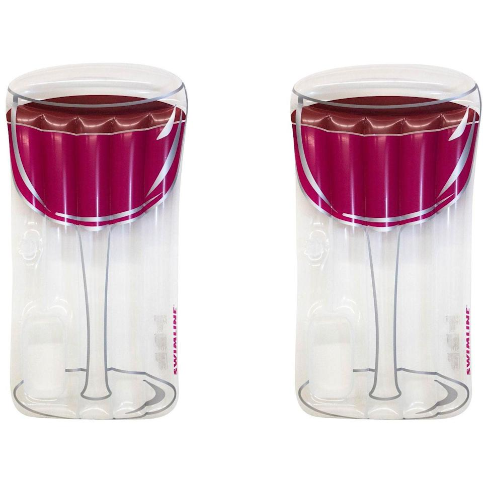 <p>Drink up with this <span>Swimline Inflatable Red Wine Glass Raft Float</span> ($31).</p>
