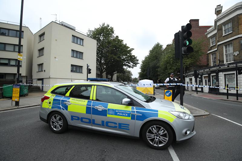 The scene on Malden Road, Kentish Town, north-west London, where a man was found with a gunshot wound after police, including armed officers, were called to a shooting late on Sunday night.